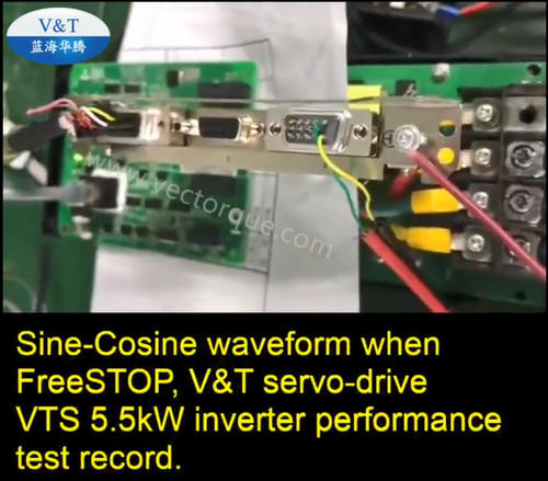 Sine-Cosine waveform when FreeSTOP, V&T servo-drive VTS  5.5kW inverter performance test record.